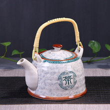 Family big teapot tea cup ceramic set cool water pot green flower Chinese tradition kungfu restaurant 970ml