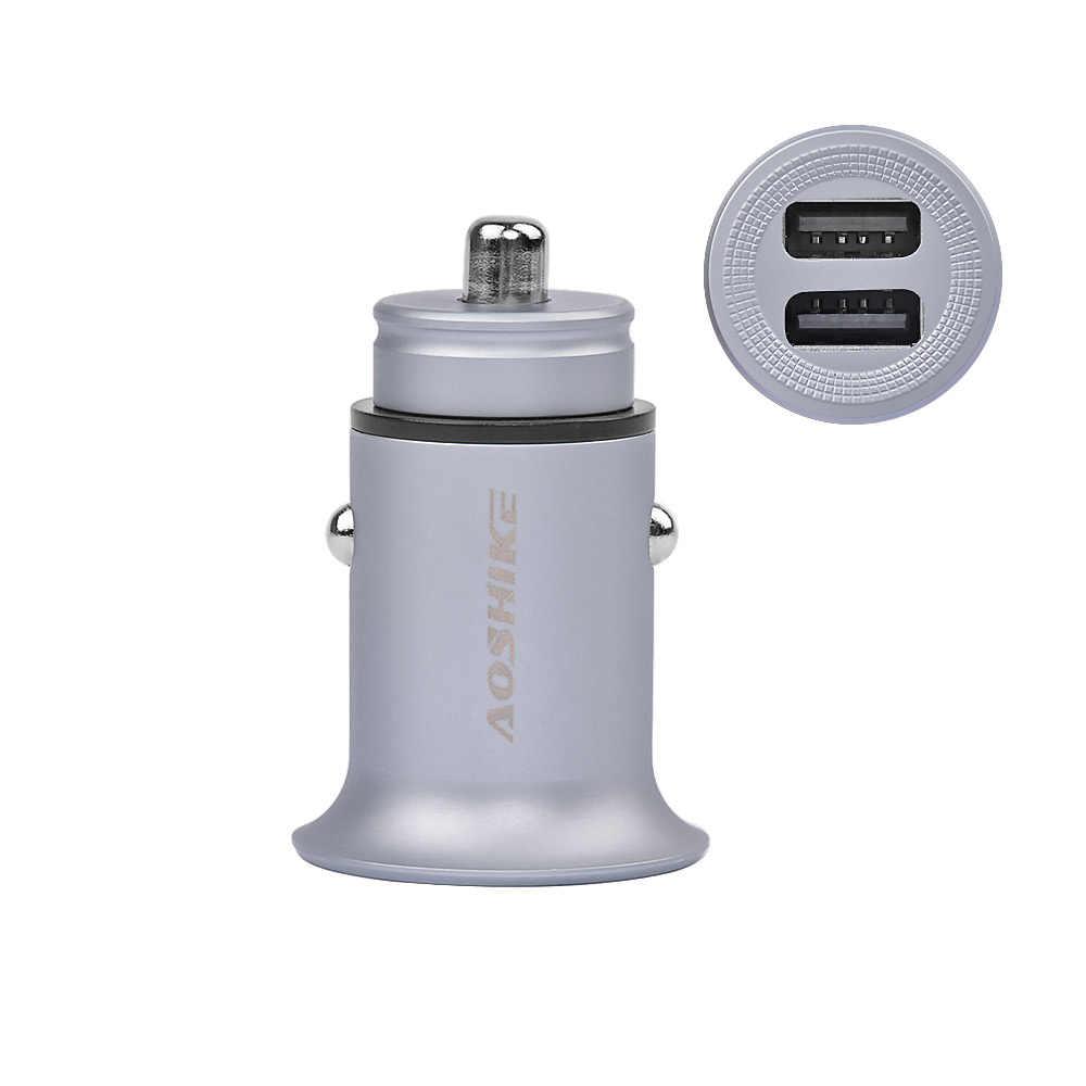 Aoshike Полный цинковый сплав двойной USB 5 В в 4.8A автомобильное зарядное устройство Быстрая зарядка один для двух 2 порта умный мини автомобильный адаптер Авто адаптер питания