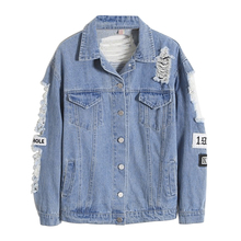 Fashion Frayed Long Sleeve Letter Print Patch Denim Jacket Women Ripped Coat