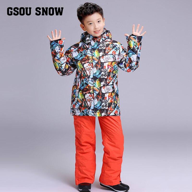 GSOU neige marque garçons veste de Ski pantalon Ski Snowboard costume coupe-vent imperméable enfants enfants vêtements pantalon Super chaud costume - 4