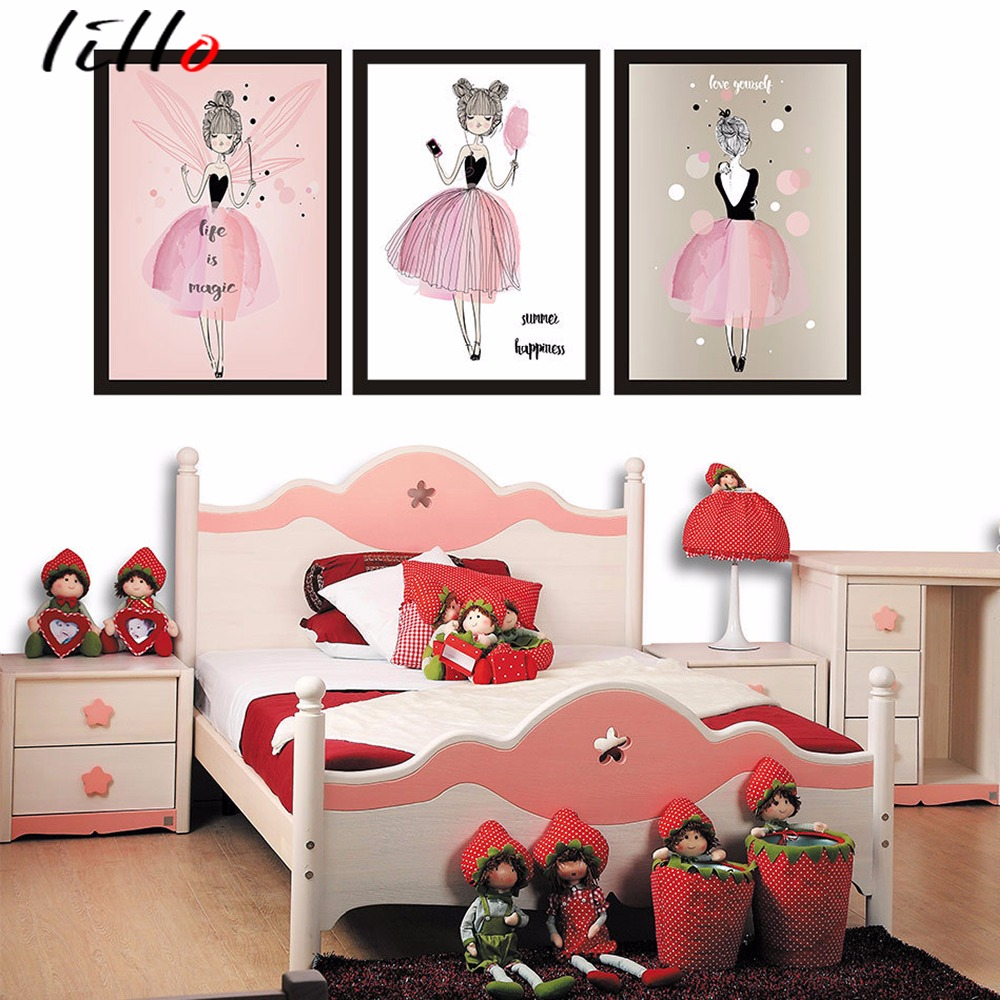 Original Watercolor Picture Frame For Girl Draw Cartoon Kawaii Decorative Cloth Living Room Paintings Hanging Roo In Painting Calligraphy