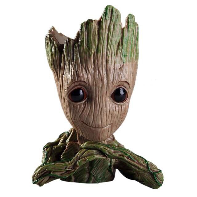 Neue Baby Groot Blumentopf Blumentopf Pflanzer Action-figuren Guardians Of The Galaxy Stift Topf Spielzeug Keychain Anhänger Weihnachten Geschenk