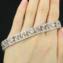 """Lindo branco zircônia cúbica mulher weding prata pulseira 7.0 7.5 """"10x10mm"""
