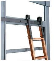 DIYHD 6FT-16FT Rustic Black Sliding Library Ladder Hardware Rolling Library Kit(No ladder)