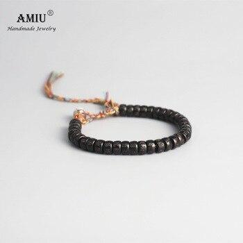 AMIU Tibetan buddhist Braided Cotton Thread Lucky Knots bracelet Natural Coconut Shell Beads 3