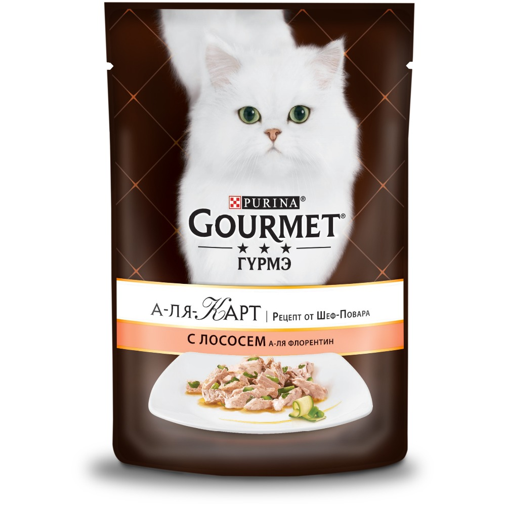 Wet food Gourmet A la Carte for cats with salmon a la Florentine, spinach, zucchini and green beans, Pouch, 24x85 g. heine c florentine nights