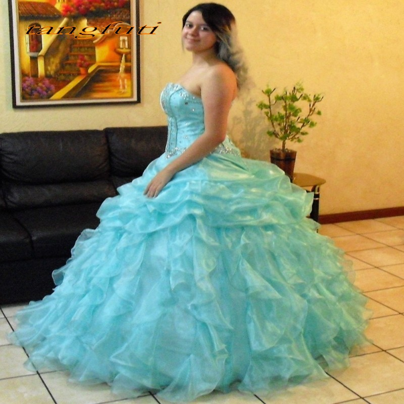 2018 Quinceanera robes menthe vert robe de bal de bal longue douce 16 robes mascarade Quinceanera robes vestidos de 15 anos