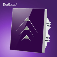 Smart House Wallpad 3 Gang 2 Way Luxury Gold Crystal Glass Intelligent Touch Switch Wall Panel
