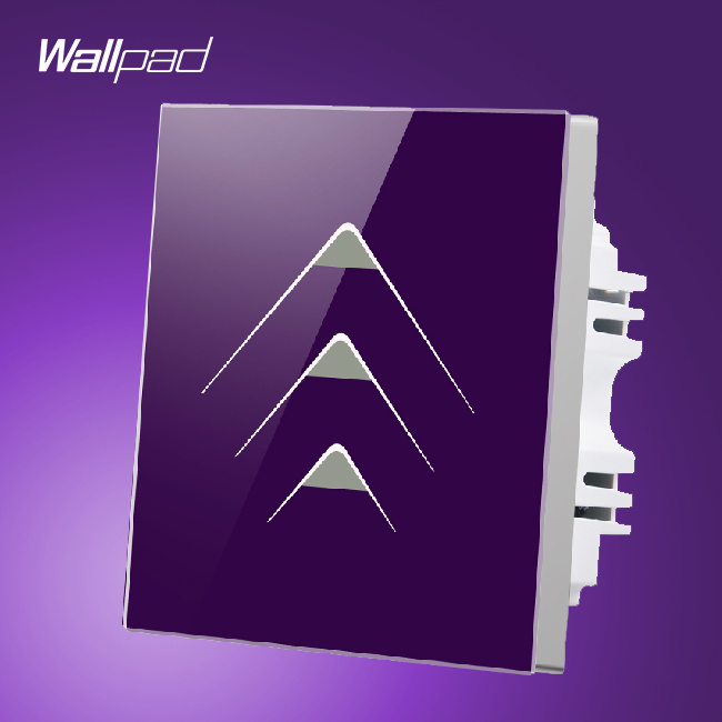 Wholsaler Wallpad 3 Gang 2 Way Luxury 110V-250V Waterproof Purple Crystal Glass Intelligent Touch Switch Wall Panel smart house wallpad 3 gang 2 way luxury gold crystal glass intelligent touch switch wall panel free shipping