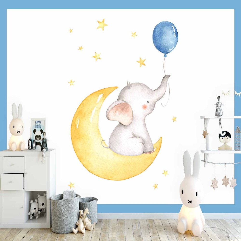 Else Blue Balloon Elephant Yellow Moon Stars Boy 3d Print Cartoon Cleanable Fabric Mural Kids Children Room Background Wallpaper