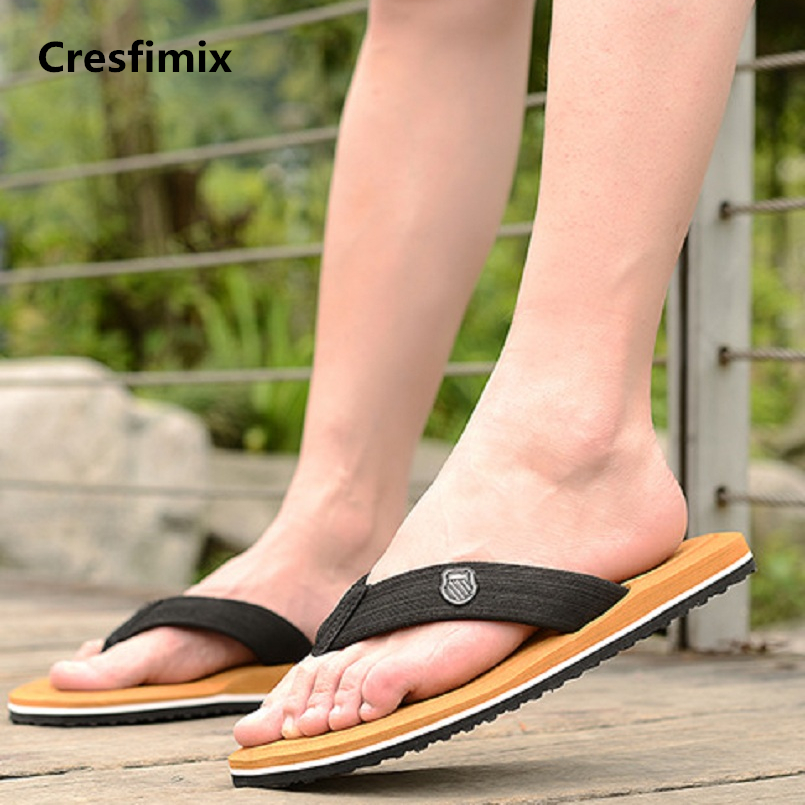 Cresfimix male casual plus size black beach flip flops men cool comfortable outside flip flops tongs masculins man slipper a209