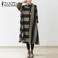 Plus Size 2017 ZANZEA Women Autumn Striped Retro Long Shirt Dress Buttons Turn Down Collar Party