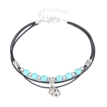 Fashion Beach Elephant Pendant Beads Anklet