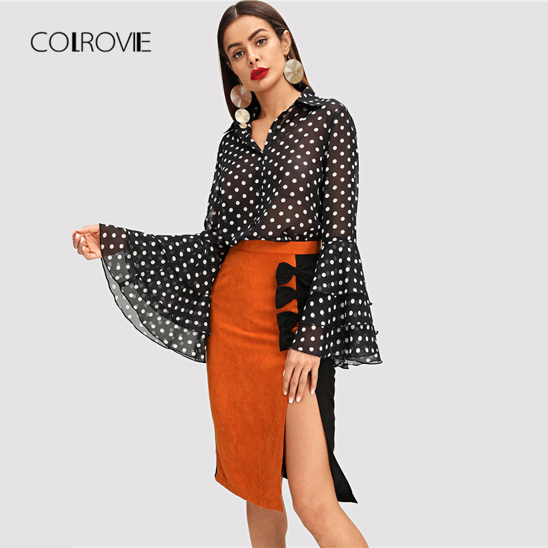 COLROVIE Black Tiered Ruffle Dot Print Elegant Blouse Shirt Women 2018 Long  Sleeve Work Blouse Sexy Women Tops And Blouses-in Blouses   Shirts from  Women s ... 54b66f68b1bf