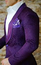 2019 New Arrival Airtailors Purple Paisley Pattern Shawl Lapel Suits for Wedding Plus Size