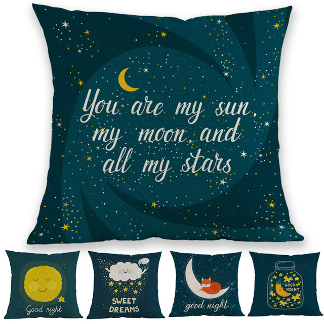 US $6 0 24% OFF|Dark Background Lovely Cartoon Sun Moon Stars Bear Good  Night Blessings Pillow Case Children's Room Decoration Cushion Cover-in
