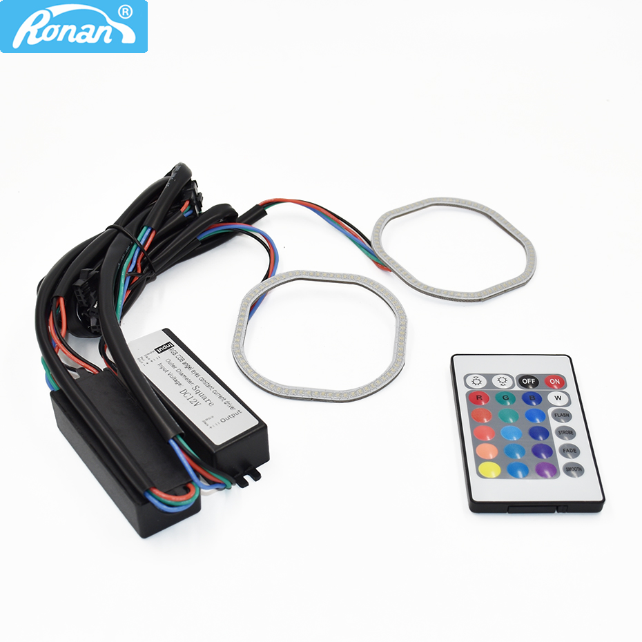 RONAN RGB Angel Eyes 80MM Square Halo Rings Colorful Angel Eyes 12V Headlight Car Motorcycle With 24 Keys Controller no battery