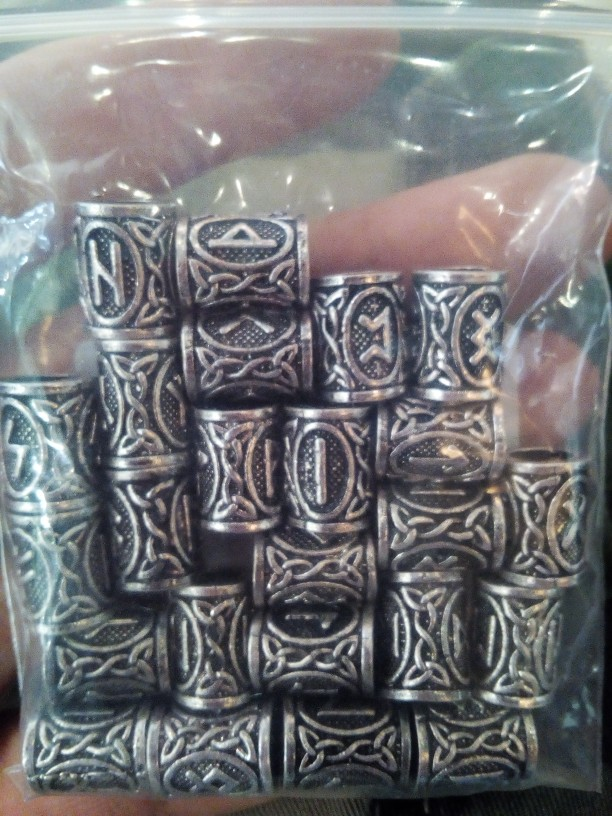 24 Piece Viking Runes Charms Beads