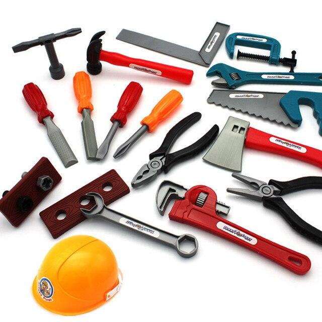 22pcs/set Educational Simulation Plastic Tool Toys For Children Carpenter Garden  Construction Tools