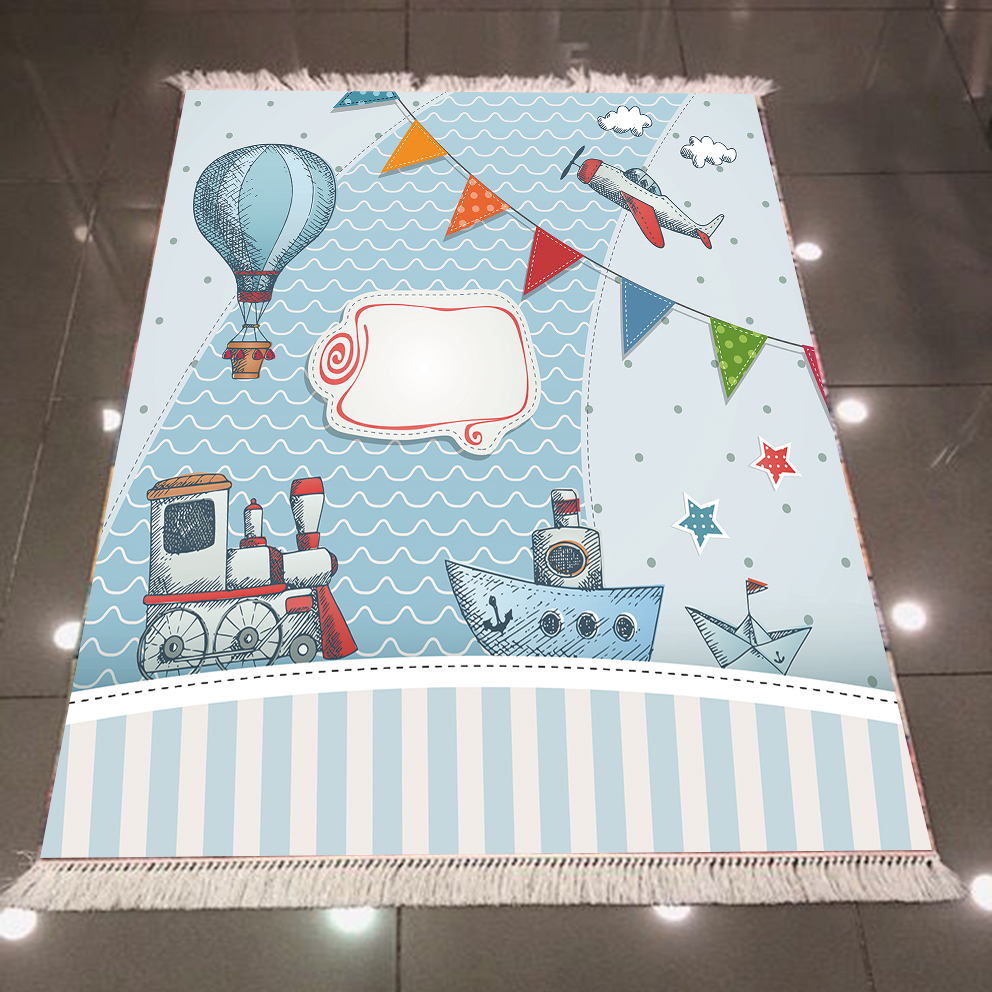 Else Blue Balloon Train Ship Planes Line 3d Print Microfiber Anti Slip Back Washable Decorative Kilim Kids Room Area Rug Carpet