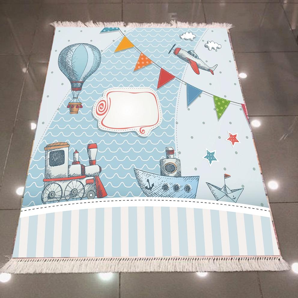 Else Blue Balloon Train Ship Planes Line 3d Print Microfiber Anti Slip Back Washable Decorative Kilim Kids Room Area Rug Carpet|Rug| |  - title=