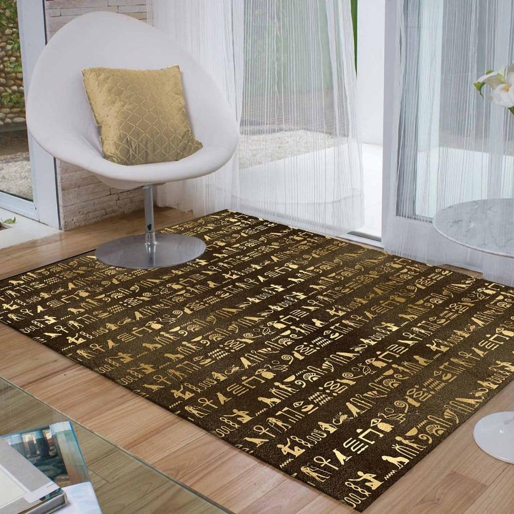 Else Brown Golden Yellow Egypt Persian Writen 3d Print Non Slip Microfiber Living Room Decorative Modern Washable Area Rug Mat