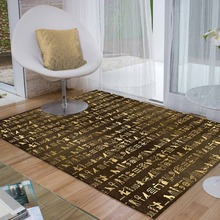 Else Brown Golden Yellow Egypt Persian Writen 3d Print Non Slip Microfiber Living Room Decorative Modern Washable Area Rug Mat