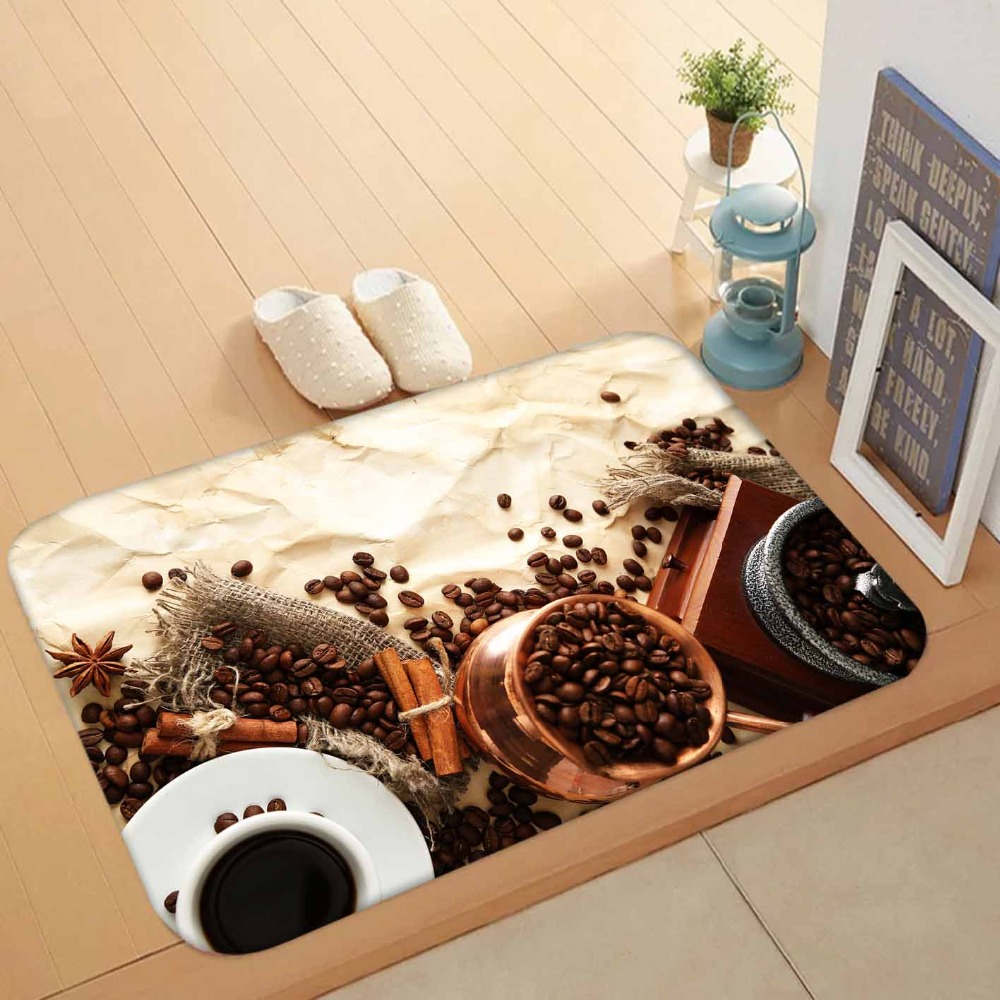Else Brown Coffee Beans White Cup Authentic Turkish Pot 3d Pattern Print Anti Slip Doormat Home Decor Entryway Kitchen Mat
