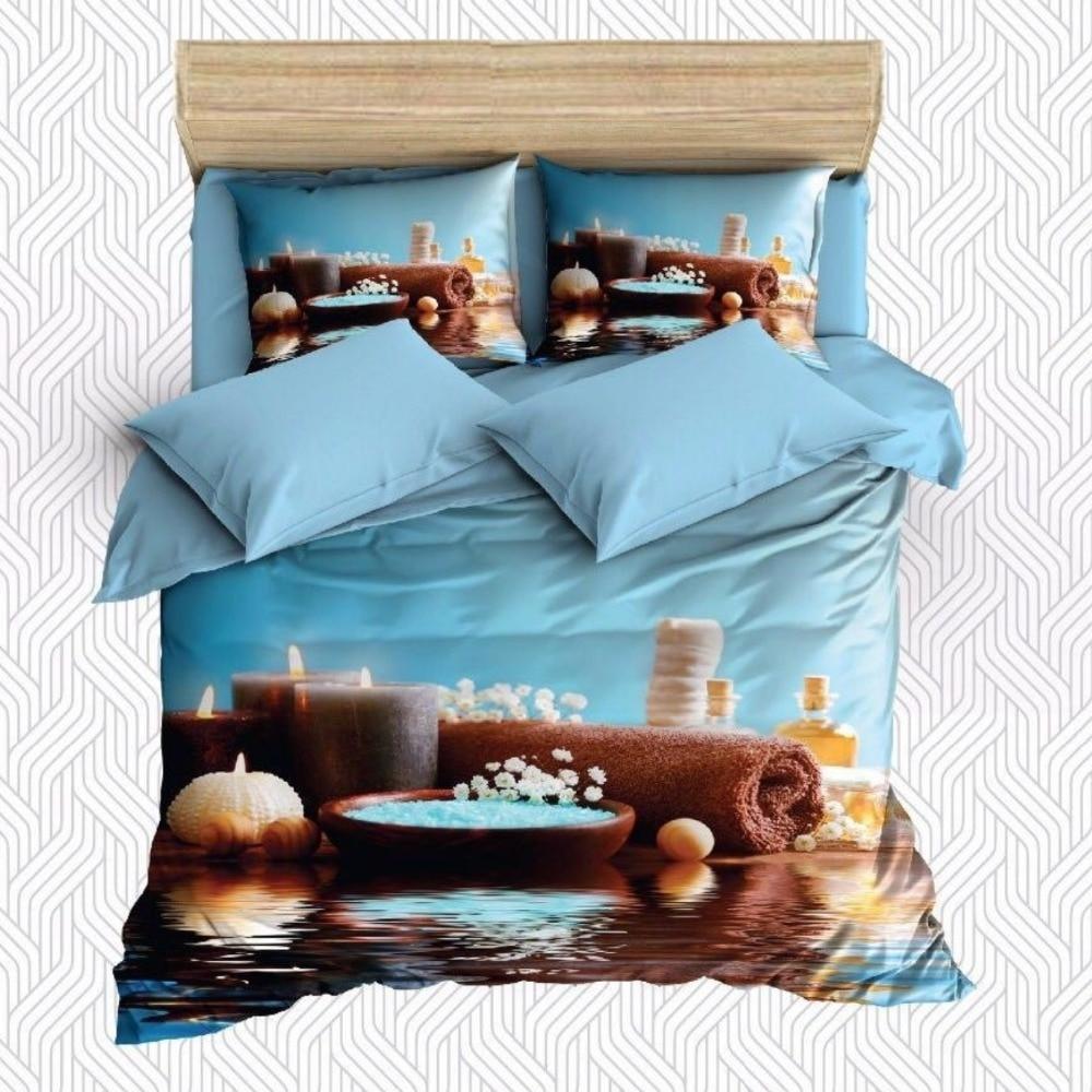 Autre 6 pièces eau sur Spa pierres serviettes de bain bougies impression 3D coton Satin Double housse de couette ensemble de literie taie d'oreiller drap de lit