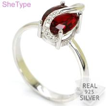 Ravishing 2.7g Top Red Blood Ruby Natural Cubic Zirconia Real 925 Solid Sterling Silver Ring 14x7mm