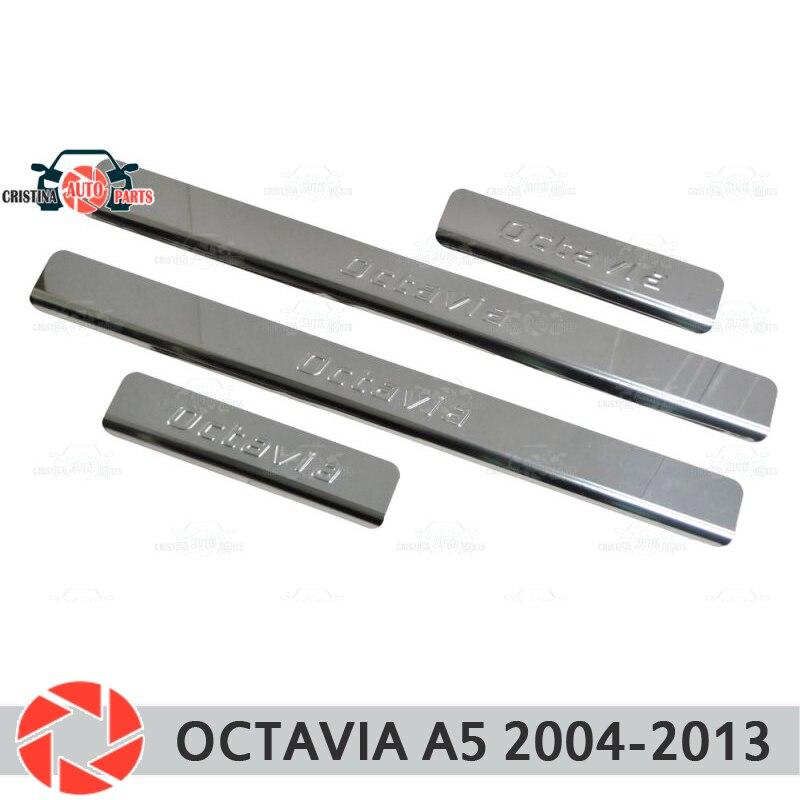 Davanzali del portello per Skoda Octavia A5 2004-2013 passo piatto interno trim accessori di protezione dello scuff car styling decorazione