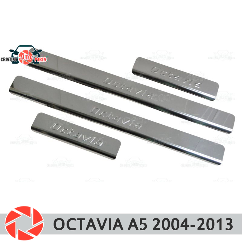 Soleiras de porta para Skoda Octavia A5 2004-2013 passo placa interna scuff guarnição acessórios de proteção car styling decoração
