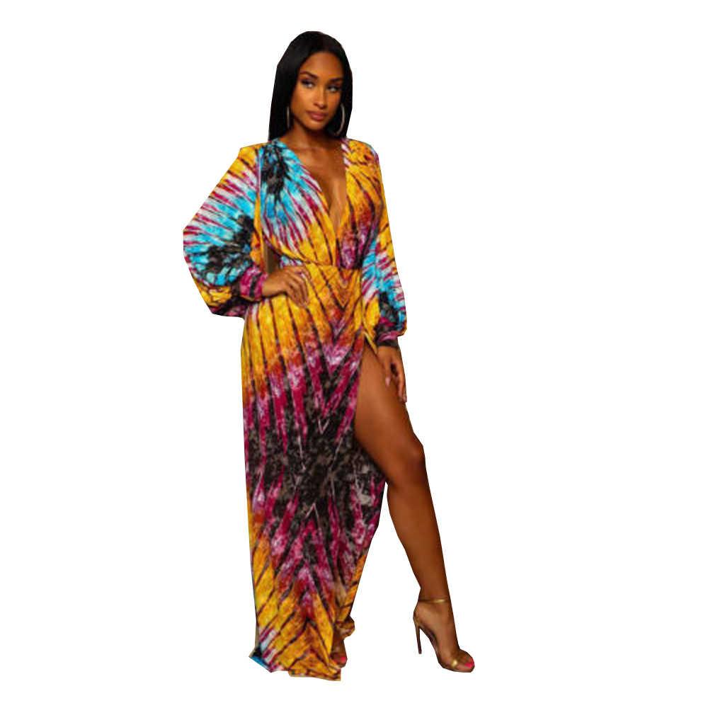 9b23cc61cf2 Модное женское сексуальное платье с глубоким v-образным вырезом и разрезом  сбоку
