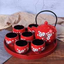 Chinese traditional red ceramic tea set suit creative wedding supplies tea cup pot tray newlywed gift стоимость