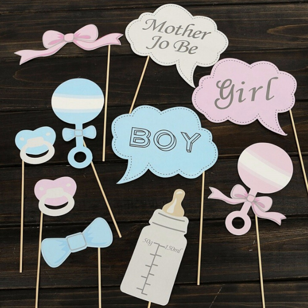 New Party Gifts Photo Booth Props DIY Bottle Baby Shower Boy Girl Birthday  Enclosed Stick Frame Wedding Decoration 10Pcs/1Set