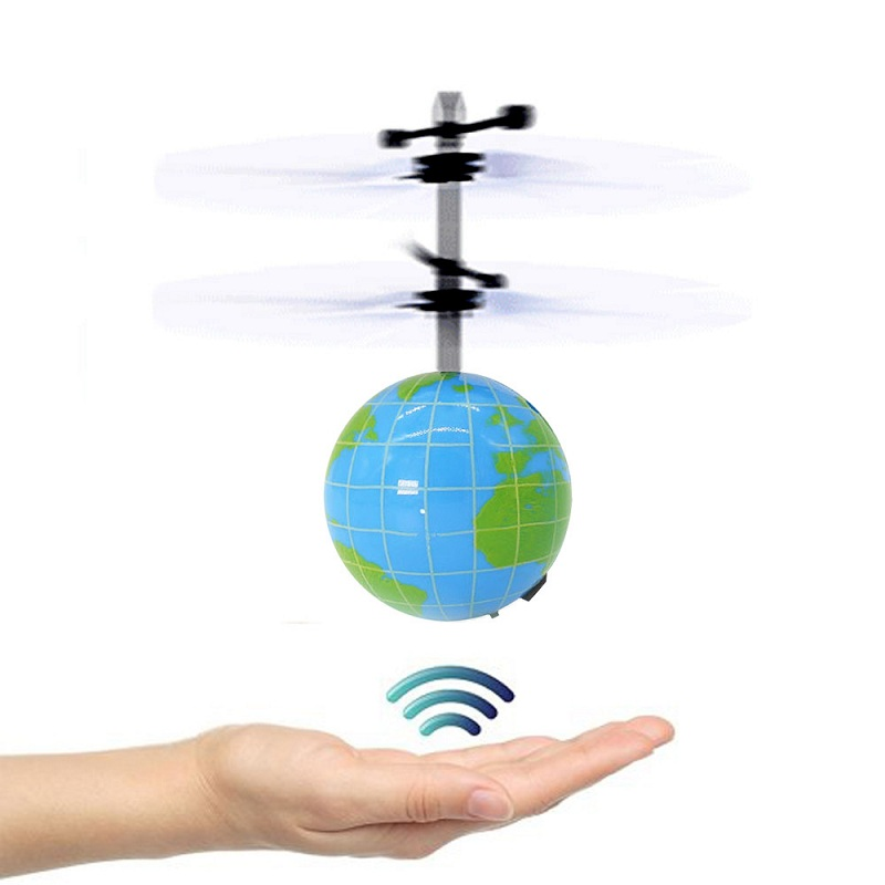 Mising Electric USB Charging Flashing Crystal Ball Helicopter Flying Light Shinning LED Earth ABS Plastic Lights Toys for Kids