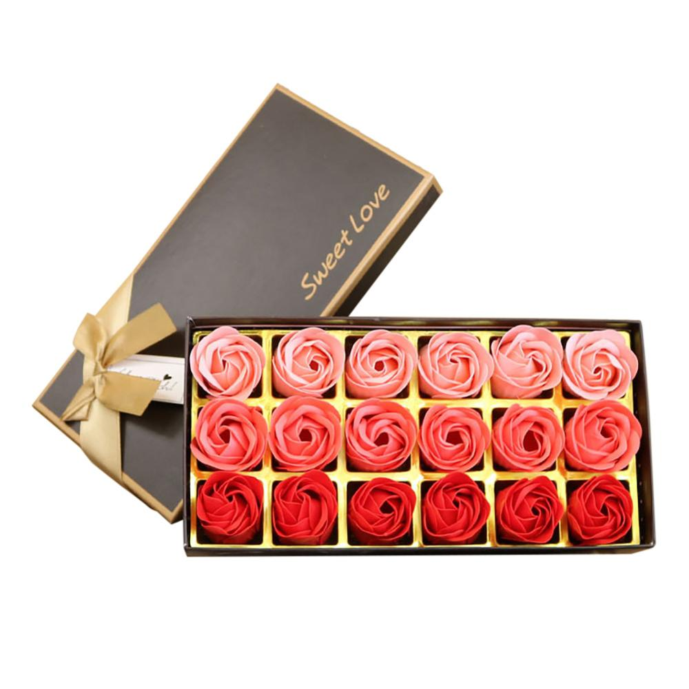 18Pcs Scented Rose Flower Petal Bath Body Soap Wedding Party Valentine'S Day Gift