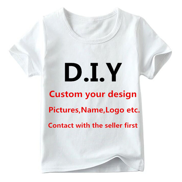 5a08b78ef Kids Customized Print T Shirt Baby Custom Your Own Design T-shirt Boys and  Girls DIY Clothes,Contact With Seller First