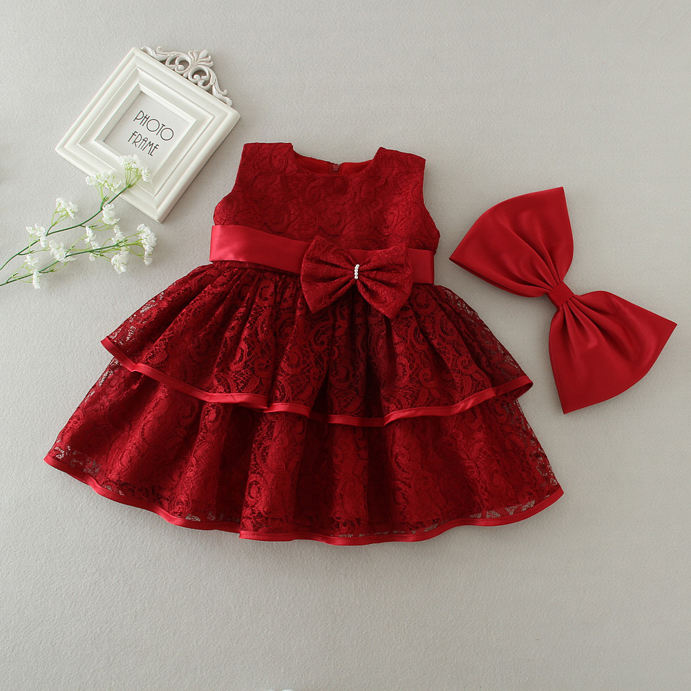 1 Year Old Birthday Baby Girl Dresses Red Bow Party Wear