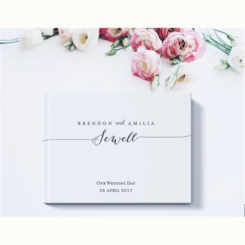 Custom Album Book Sign Guest Personalized For Party Guest Wedding White Alternatives Theme Book Engagement Decoration Guest