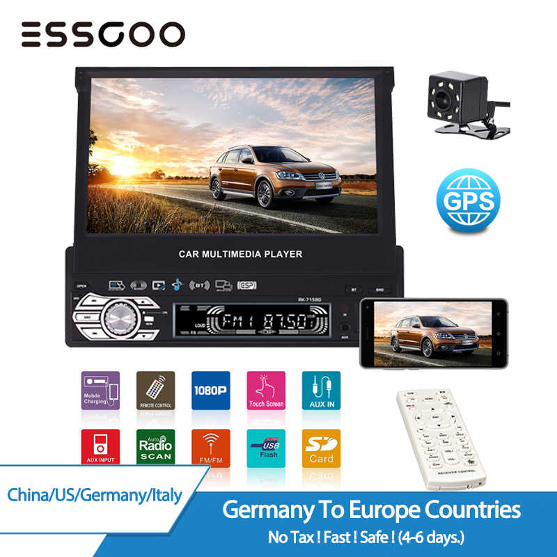 "ESSGOO 7"" 1 Din Car Radio GPS Navigation Multimedia Player Retractable Screen Autoradio Navigator MP5 GPS Phone Link Rear Camera"