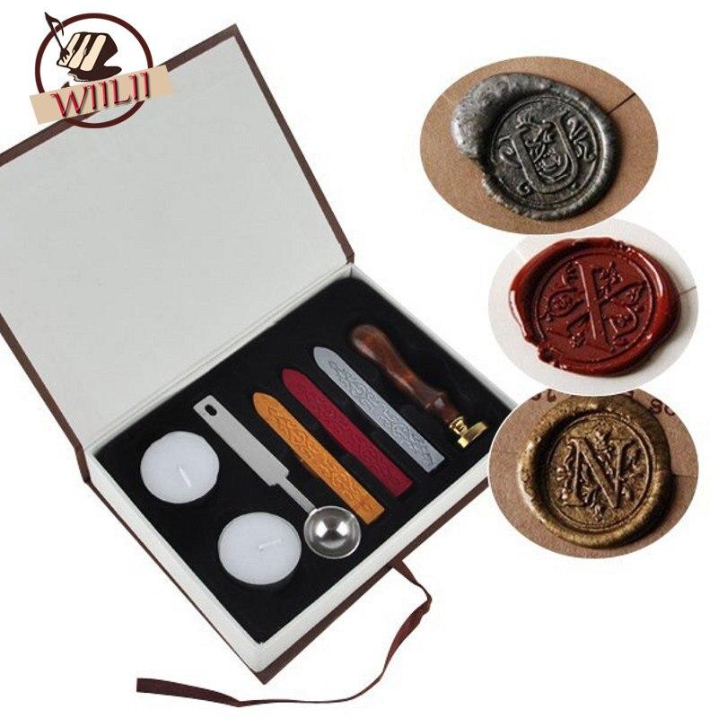 Initial Letter Vintage Alphabet Wax Badge Seal Stamp W Wax Kit Set Letter A Z Optional