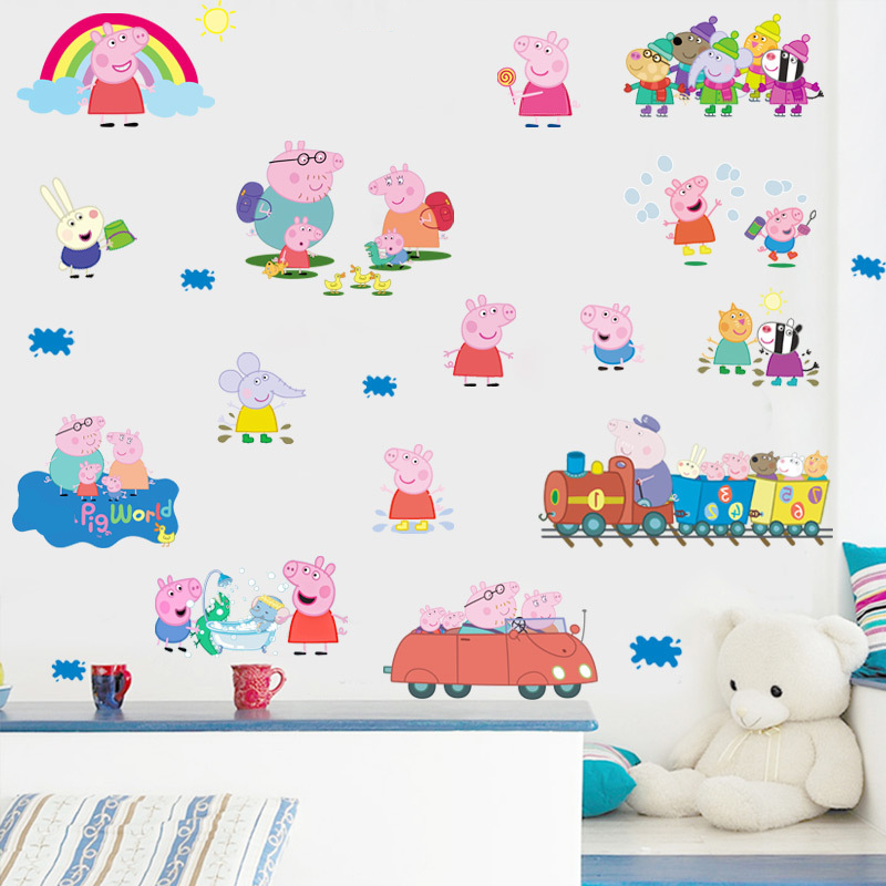 Cartoon animals wall stickers diy removable boy girl gift home decor for kids room pig train elephant anime sticker wall decals ...