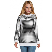 Fashion New Patchwork Drawstring Striped Hooded Collar Women Casual Loose Basic Long Sleeve Knit Pullovers hoodies