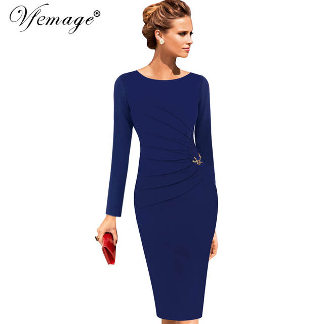 d8867cf49c9 Vfemage Womens Celebrity Elegant Vintage Ruched Pinup Wear To Work Office  Business Casual Party Fitted Bodycon