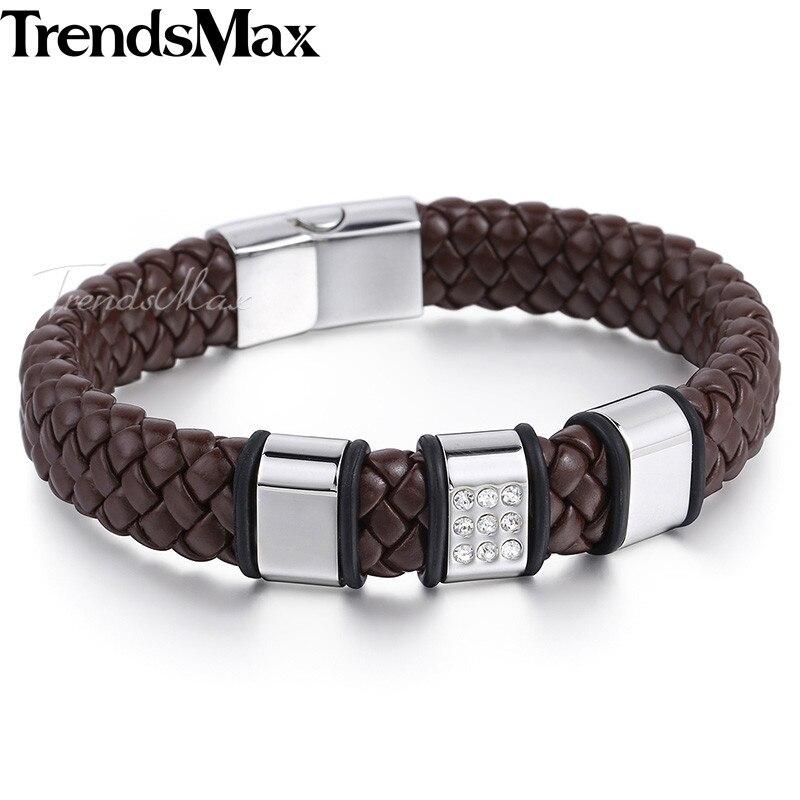 39dd95acc2a0 Trendsmax hombres chicos negro marrón genuino hecho a mano pulsera de cuero  trenzado de la cuerda del encanto del grano de w claro diamantes de  imitación ...