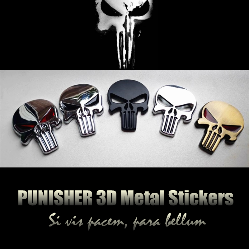 Punisher Skull Skelet 3D Metal Car Sticker Badge Emblem för Auto Motorcykel Chopper Car styling
