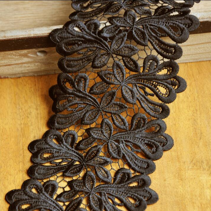 2 Meters 11.5cm Width High Quality Black Lace Sewing Ribbon Guipure Venice Lace Trim Fabric Warp Knitting DIY-in Lace from Home & Garden
