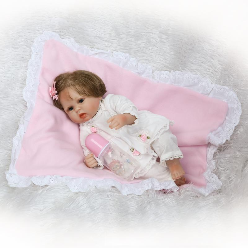 NPKDOLL 40cm Soft Silicone Doll Reborn Baby 22 Toy For Girls Newborn Girl Baby Birthday Gift For Child Bedtime Early Education handmade 18 cute china girl doll reborn baby doll sd bjd doll best bedtime playhouse toy enducational toy for girls as gift