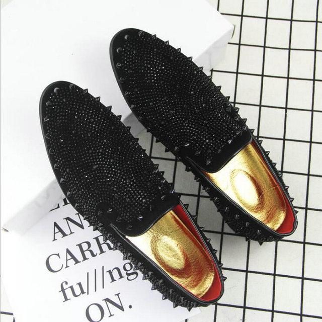 mens black rivet loafers
